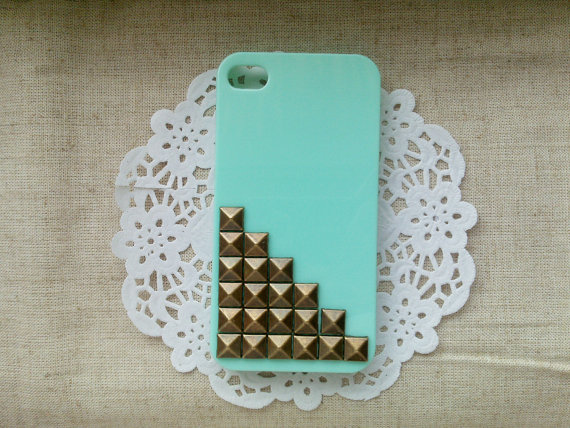 Bronze pyramid stud Mint green Hard Case Cover For Apple iPhone 4 Case, iPhone 4s Case, iPhone 4 Hard Case-B2