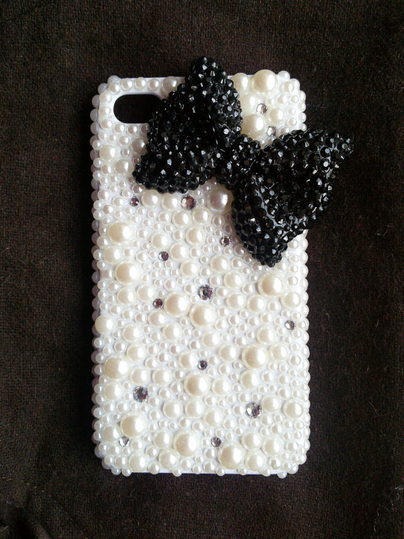 Bling Crystal black Bow Ribbon Back Case Cover for Apple iphone 4 4S---E11