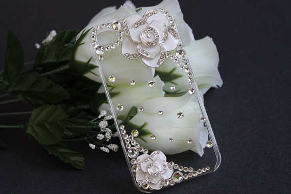 iPhone 4 case, iPhone 4s case, iPhone case, Hard case - Clear, White Rose and Rhinestones