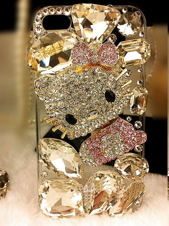Finished case---- Bling Bling Hello kitty Cover Cell Phone CaseFor Iphone 4 Or Iphone 4s---J45