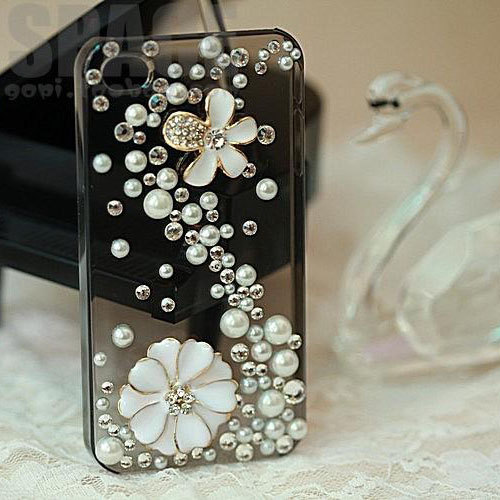 Finished case-Pearls andFlower iphone 4 case iphone 4s protective cover-- ZT43B